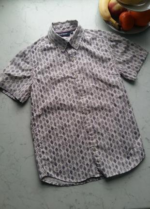 Стильная трендовая шведка рубашка с коротким рукавом bhs  11-12 лет