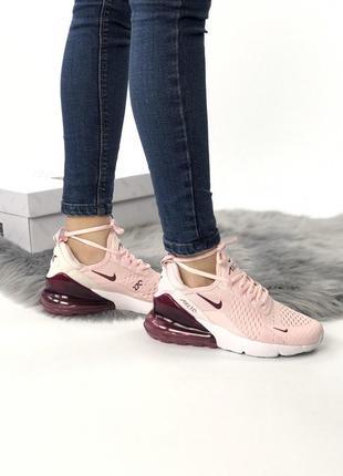 Nike air max 270 pink ● шикарные женские розовые кроссовки 😍 {весна/ лето/ осень}