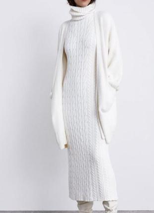 Вязаное платье белого цвета zara, размер m