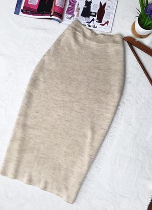 Элегантная вязаная юбка миди карандаш