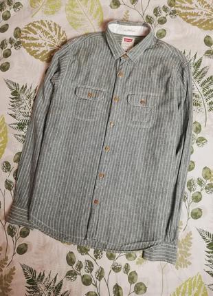 Брендовая рубашка натуральная ткань лен+коттон levis