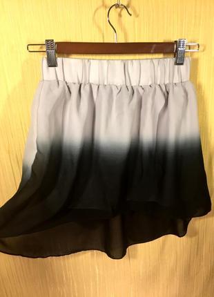 Terranova новая легкая струящаяся юбка с градиентом, сзади длиннее \ спідниця зі шлейфом