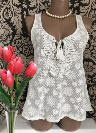 Гипюровая кружевная блузка майка abercrombie & fitch.