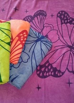Комплект полотенца халат микрофибра на кнопках  5 шт разных цветов