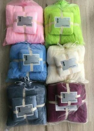 Комплект 6 наборов полотенец  микрофибра в подарочных мешочках