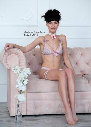 Новое кружевное нижнее белье с бантиками цвета пудра ручная работа подарок девушке