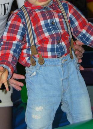 Стильные джинсы с потертостями на мальчика до 74см с подтяжками h&m