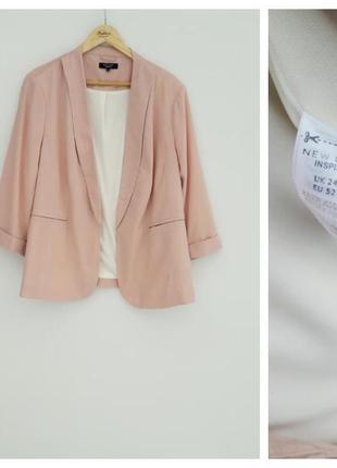 Стильный пиджак цвета пудра батал большой размер 24 6xl
