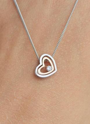 Серебряное колье сердце (длина 40 см)