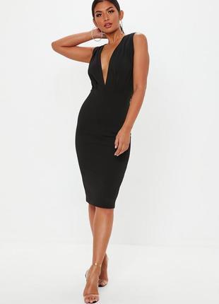Missguided черное миди платье с глубоким декольте, р.8, европ.36, s-ка