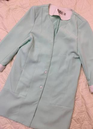 Удлинённый пиджак! нежно мятный