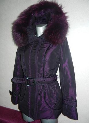 Фиолетовый пуховик, куртка фиолетового цвета karuna xs/s