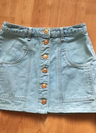 Юбка джинсовая трапеция голубая с пуговицами