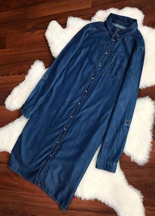 Шикарное джинсовое платье с карманами