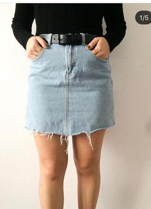 Джинсовая юбка с необработаным краєм