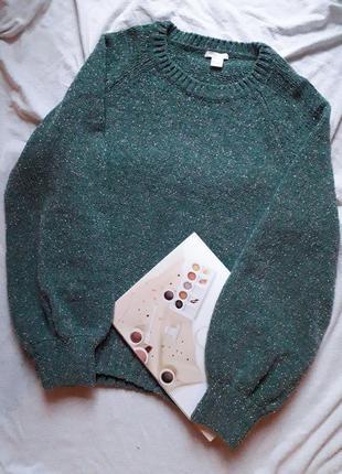 Велюровый свитер с широкими рукавами и серебляной нитью
