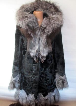 Шуба,шубка,полушубок натуральный мех коза-чернобурка ,лиса!капюшон, размер 42-44