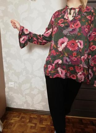 Брендовая блуза рубашка  цветочный  принт стиль бохо marks & spencer