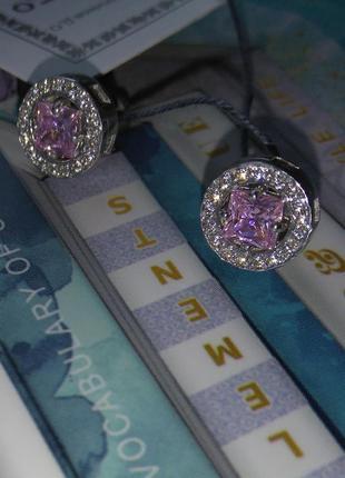 Серебряные серьги с винтовой застежкой гвоздики пусеты с с розовым камнем серебро 925