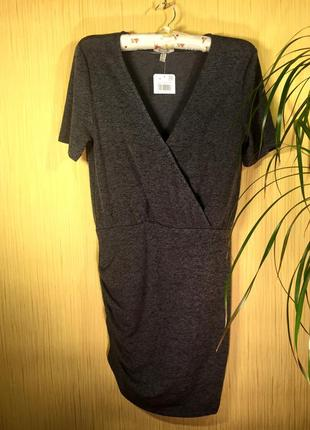Zara новое мягенькое сексуальное мини платье на запах \ сукня сірий меланж