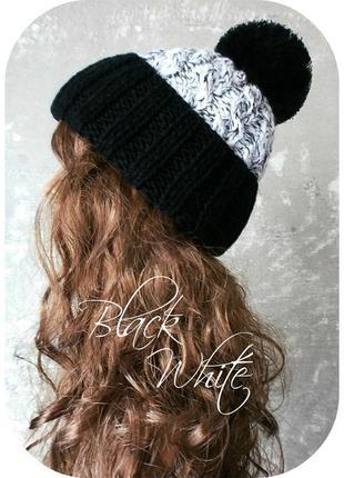 Любая расцветка! хлопковая шапка с отворотом/помпон/косы/чёрный, белый/меланж