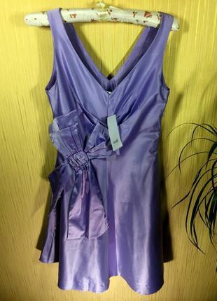 Oodji новое сиреневое платье с красивым декольте и бантом \ коктейльна сукня на випускний