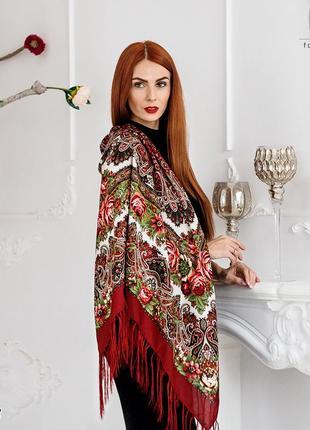Бордовый павлопосадский шерстяной платок осеннее танго