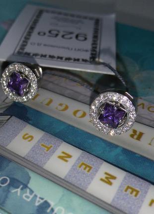 Серебряные серьги с винтовой застежкой гвоздики пусеты с фиолетовым камнем серебро 925