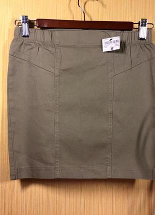 Terranova новая джинсовая юбка цвета светлого хаки \ міні спідниця з літнього деніму