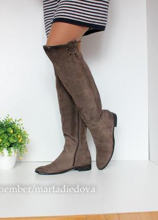 Замшевые кожаные ботфорты сапоги, натуральная кожа, бренд lavorazione artigianale