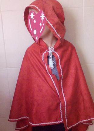 Карнавальная накидка,мантия с капюшоном красная шапочка,принцесса,для фотосессии