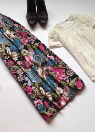 Юбка миди с цветочным принтом в стиле винтаж ретро