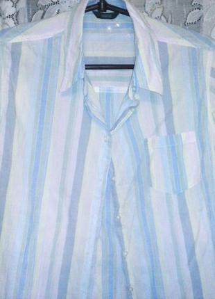Рубашка белая в цветные полоски