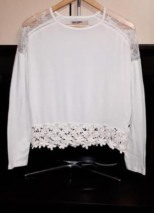 Шикарная блузка с кружевом garcia jeans раз.s