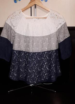 Шикарная комбинированная кружевная блузка раз.s