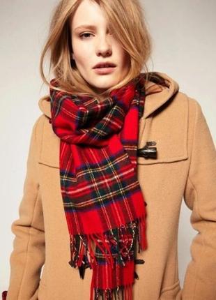Шерстяной красный шарф шотландка