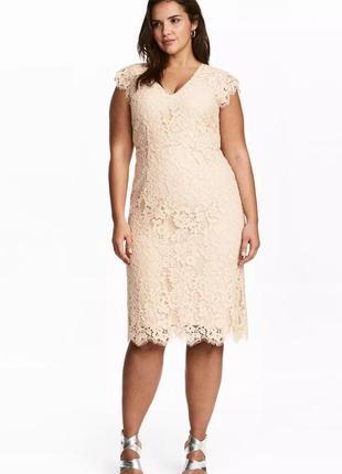 Шикарное нюдовое вечернее кружевное платье миди h&m с декольте.