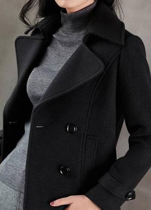 Пальто полупальто чёрное классическое короткое шерсть dorothy perkins