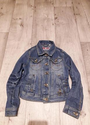 Джинсовая куртка пиджак на 8-9лет