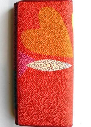 Большой кожаный кошелек скат love, винил + 100% натур. кожа, есть доставка бесплатно5