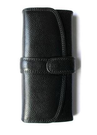 Кожаный классический кошелек черный, 100% натур. кожа, есть доставка бесплатно