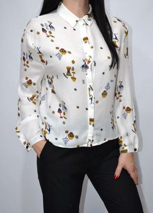 Рубашка оверсайз животный принт zara.