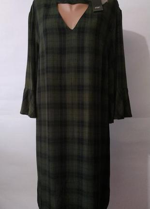 Вискозное новое стильное платье туника с чекером в клетку f&f uk 20 / 48 /.xxxl