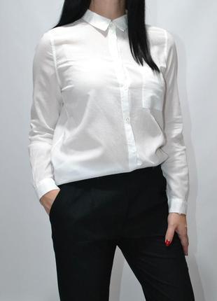Рубашка базовая белая хлопок zara .