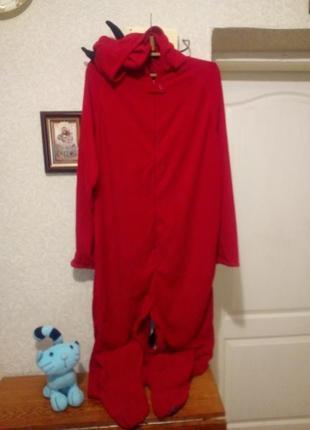 Теплая флисовая пижама кигуруми в образе чертика пог 64 c877b46fc2788