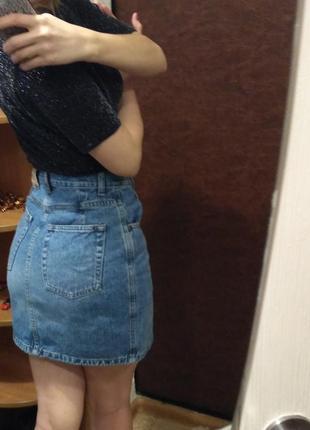 Джинсовая юбка на высокой талии, xs-s