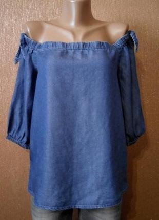 Джинсовая блузка на плечи размер 10 new look denim