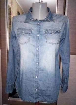 Стильна сорочка рубашка джинс на закльопках