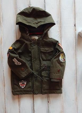 Next стильная куртка-парка  на флисе на мальчика  6-9 мес