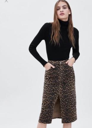 Юбка леопардовая леопард миди джинсовая на высокой талии zara оригинал